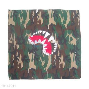 Cheap Camouflage Color Cotton Handkerchief with a Monster Mouth Design