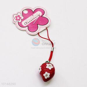 Red Strawberry Bell Mobile Phone Accessories Key Accessories