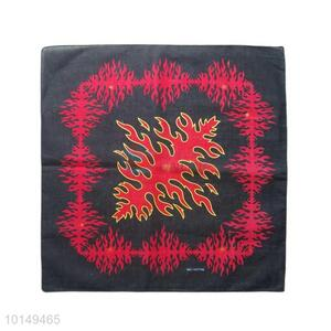 Cheap Red/Black Fancy Cotton Handkerchief with Fire Design