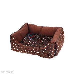 Brown dot pattern plush pet dog/pet kennel