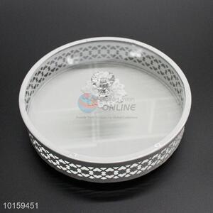 Decorative White Metal Cake Holder With Glass Cover