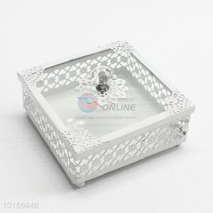 New Design Hollow Metal Cake Holder Box With Glass Cover