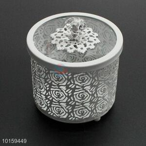 White Metal Cake Holder Storage Box With Glass Cover