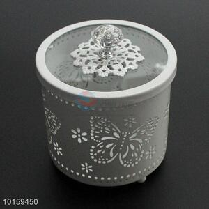 Home Storage Box Metal Cake Holder With Glass Cover