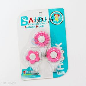 Pink Flower Kitchen Bathroom Plastic Adhesive Wall Hook Stick Hook