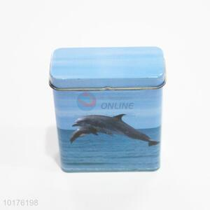 Dolphin printed metal cigarette case