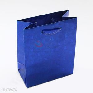 Promotional Cheap Blue Glossy Paper Gift Bag Packing Bag