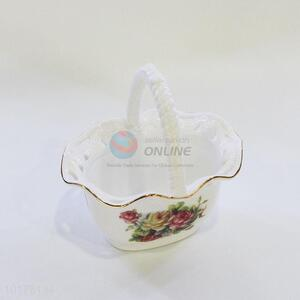 Best Sale Ceramic Flower Basket With Handle