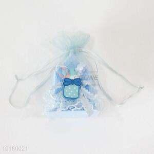 Delicate cute blue candy box with yarn bag