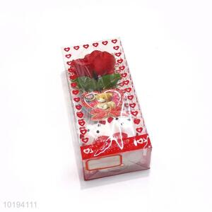Best Quality Artificial Flower With Double Bear Gift Set