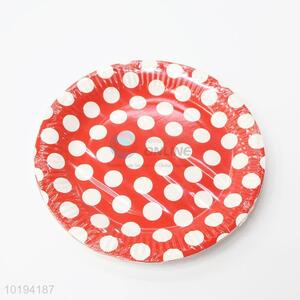 Red Color Dot Pattern Disposable Paper Dishes
