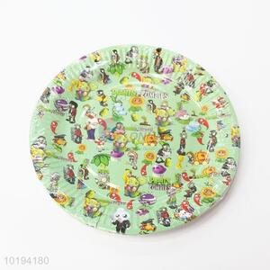 Green Color Plants Zombie Printed Disposable Dishes