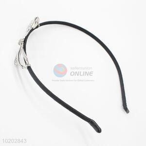 Black Ribbon Hair Clasp with Rhinestone Bowknot Decoration
