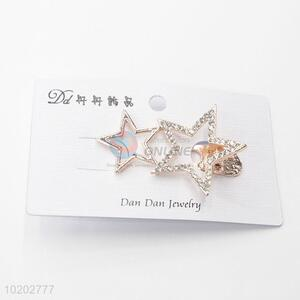 Gold Color Star Design Fashion Hairpin for Women Girl