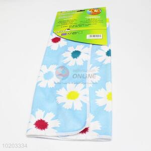 Promotional cheap blue flower printed microfiber towel