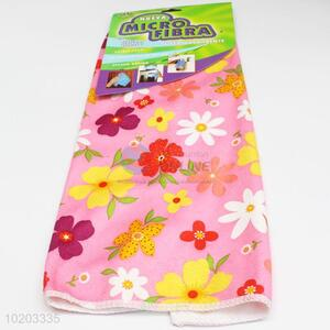 Facotry price pink flower printed microfiber towel