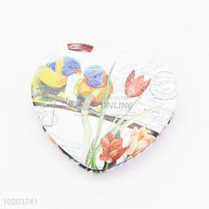 Promotional heart shape double-sided folded makeup mirror