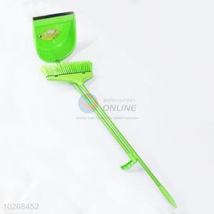 Green plastic broom and dustpan kit