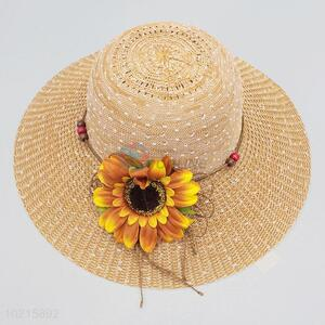Top Quality Sunflower Decoration Women's Beach Sun Hat Straw Hat