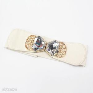 Big Rhinestone Bowknot Design White Pu Leather Women Elastic Woven Belt