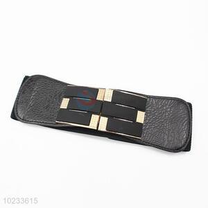 Stylish Black Pu Leather Elastic Woven Belt Fashion Accessories