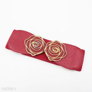 Wholesale Rose Flower Design Red Elastic Woven Belt