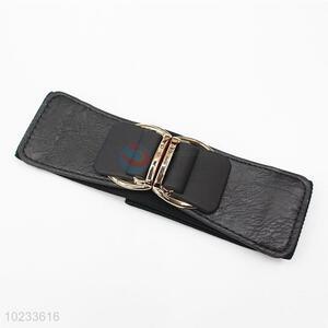 Simple Design Fashion Women Black PU Leather Elastic Woven Belt