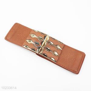 Brown PU Leather Women Elastic Woven Belt