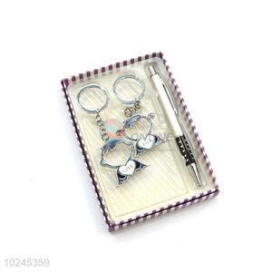Nice Design Pen and a Piar of Key Chain Set with Gift Box