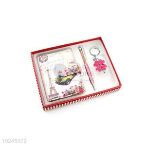 Competitive Price Note Book and Pen and Key Chain Set with Gift Box