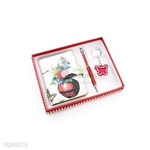 New Arrival Note Book and Pen and Key Chain Set with Gift Box