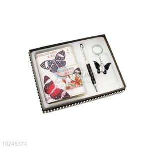 Factory Direct Note Book and Pen and Key Chain Set with Gift Box