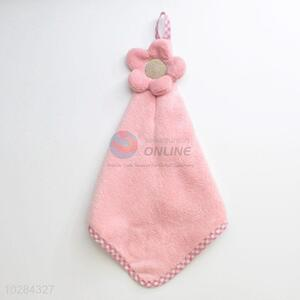 Pink Color Flower Decoration Hand Towel Bathroom Use
