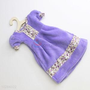 Purple Color Dress Shaped Nursery Hand Towel Soft Plush Fabric