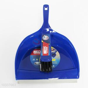 Blue plastic dustpan and brush/broom set