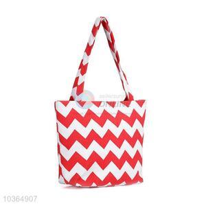 New product red&white wavy pattern beach handbag