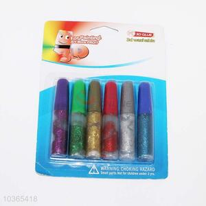 Fashion style cool 6pcs colorful gold dust glues