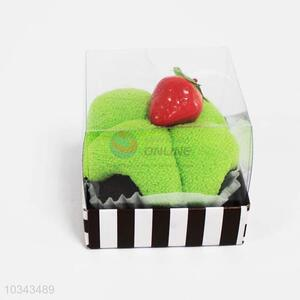 Good quality green cotton cleaning towel with cake package,7.1*7.5*6.8cm
