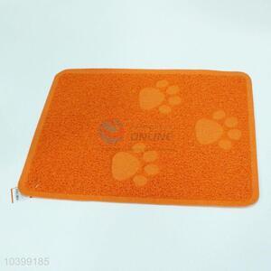 Orange simple dog footprint pattern pet mat