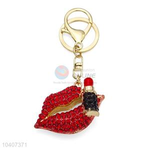 Good Quality Red Lip Shape Diamond-Set Key Chain