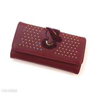 Cheap towel embroidered women purse with rivets