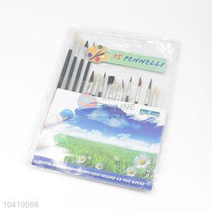 14Pcs Wood Handle Nylon Art Paintbrush Set