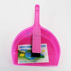 Good quality pink plastic dustpan and brush/broom set,21*29cm
