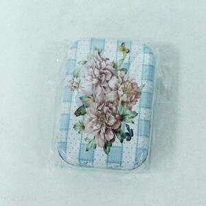 Cute Design Flower Pattern Rectangle Metal Can