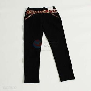 Good quality flower splicing black trousers for women