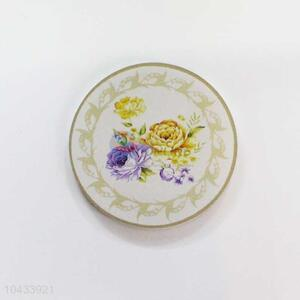 Flower Pattern Round Wood Cup Mat