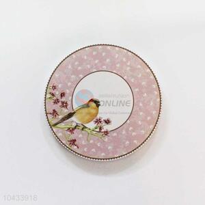Bird Pattern Round Wood Cup Mat