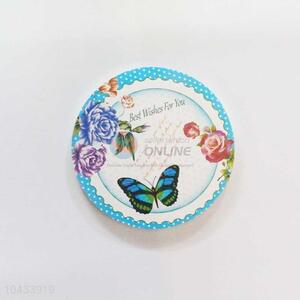Butterfly Pattern Round Wood Cup Mat