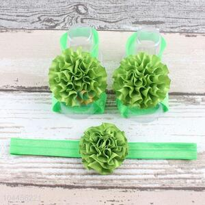 Fashion Style Lovely Baby Flower Foot Band Hairband Set