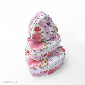 China Factory Multi-use Heart Shaped Tin <em>Storage</em> Cases Set
